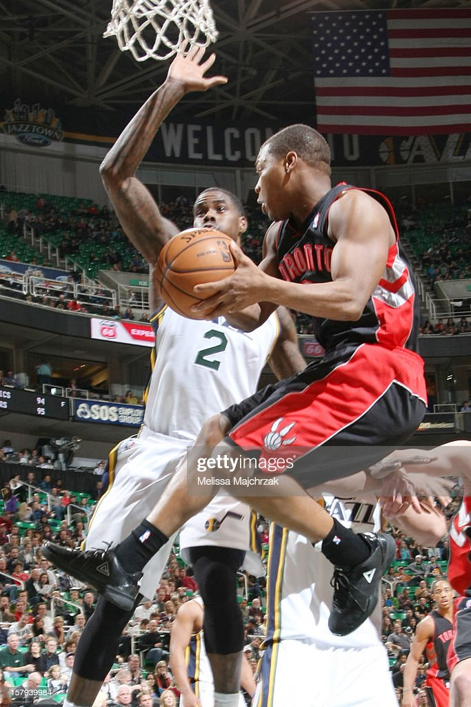 <a gi-track='captionPersonalityLinkClicked' href=/galleries/search?phrase=Kyle+Lowry&family=editorial&specificpeople=714625 ng-click='$event.stopPropagation()'>Kyle Lowry</a> #3 of the Toronto Raptors passes against <a gi-track='captionPersonalityLinkClicked' href=/galleries/search?phrase=Marvin+Williams&family=editorial&specificpeople=206784 ng-click='$event.stopPropagation()'>Marvin Williams</a> #2 of the Utah Jazz at Energy Solutions Arena on December 07, 2012 in Salt Lake City, Utah.
