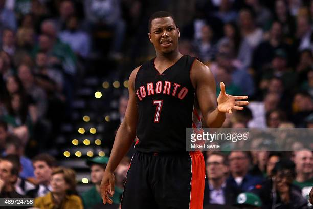 Kyle Lowry of the Toronto Raptors reacts after a foul is called in the first half against the Boston Celtics at TD Garden on April 14 2015 in Boston...