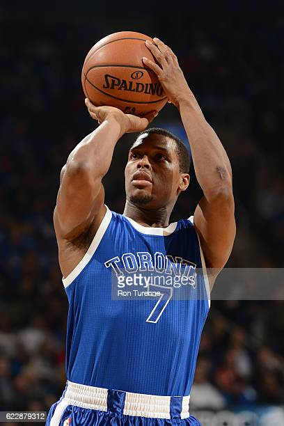Kyle Lowry of the Toronto Raptors shoots a free throw during a game against the New York Knicks on November 12 2016 at the Air Canada Centre in...