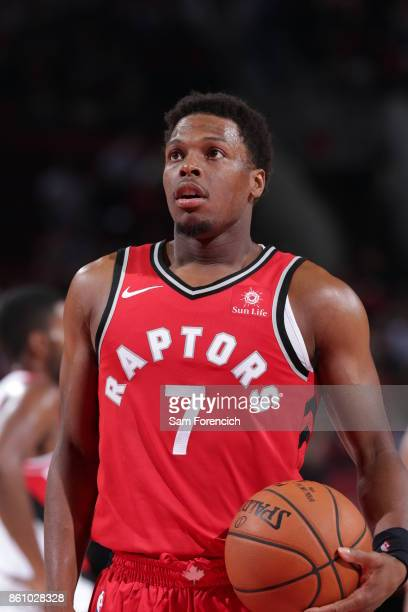Kyle Lowry of the Toronto Raptors shoots a free throw during a pre season game against the Portland Trail Blazers on October 5 2017 at the Moda...