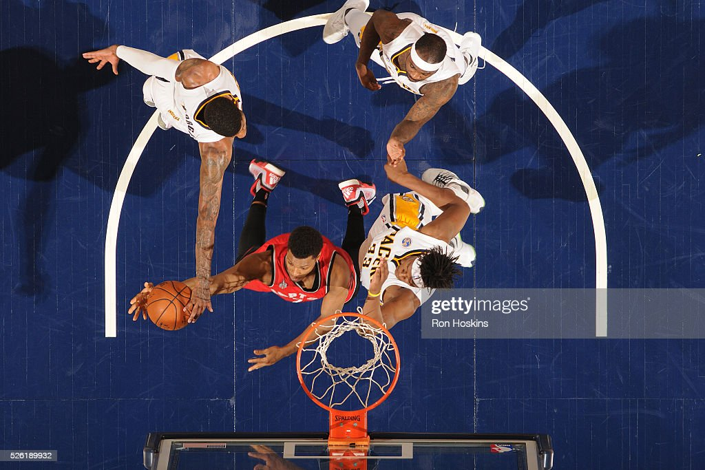<a gi-track='captionPersonalityLinkClicked' href=/galleries/search?phrase=Kyle+Lowry&family=editorial&specificpeople=714625 ng-click='$event.stopPropagation()'>Kyle Lowry</a> #7 of the Toronto Raptors shoots a lay up against the Indiana Pacers in Game Six of the Eastern Conference Quarterfinals during the 2016 NBA Playoffs on April 29, 2016 at Bankers Life Fieldhouse in Indianapolis, Indiana.