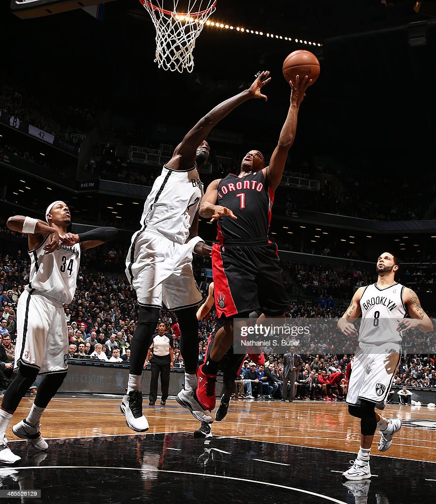 <a gi-track='captionPersonalityLinkClicked' href=/galleries/search?phrase=Kyle+Lowry&family=editorial&specificpeople=714625 ng-click='$event.stopPropagation()'>Kyle Lowry</a> #7 of the Toronto Raptors shoots against Kevin Garnett #30 of the Brooklyn Nets during a game at Barclays Center in Brooklyn.