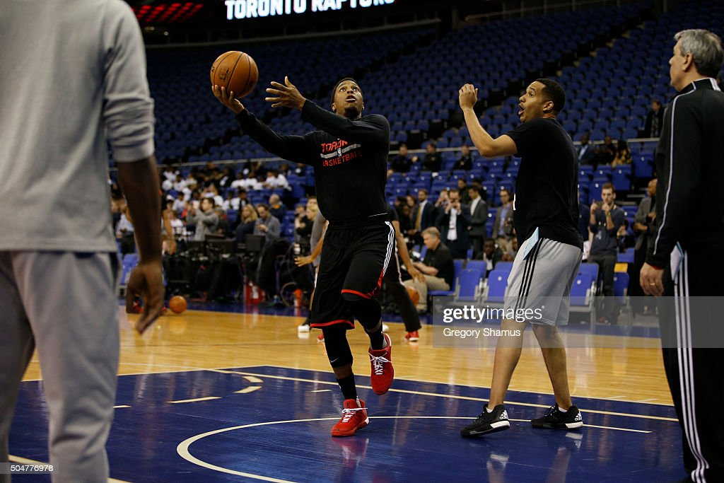 Kyle Lowry of the Toronto Raptors shoots during practice as part of the 2016 Global Games London on January 13, 2016 at The O2 Arena in London, England.