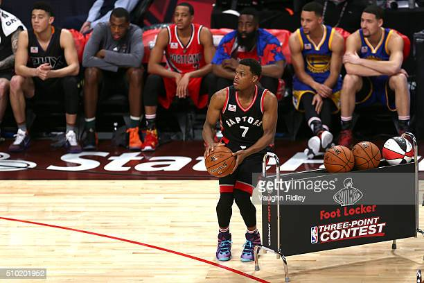 Kyle Lowry of the Toronto Raptors shoots in the Foot Locker ThreePoint Contest during NBA AllStar Weekend 2016 at Air Canada Centre on February 13...