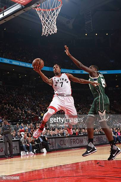 Kyle Lowry of the Toronto Raptors shoots the ball against the Milwaukee Bucks on December 11 2015 at the Air Canada Centre in Toronto Ontario Canada...