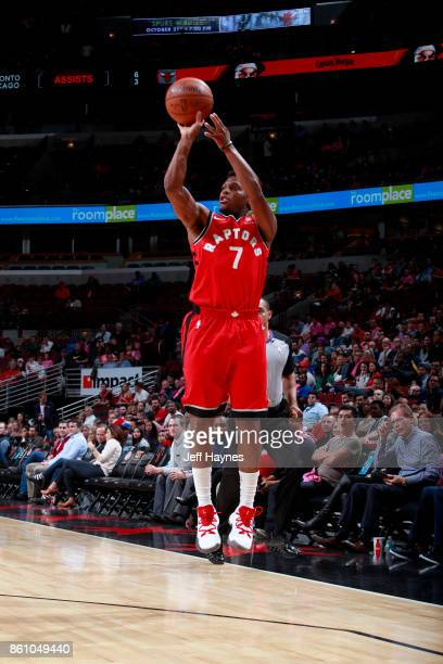 Kyle Lowry of the Toronto Raptors shoots the ball against the Chicago Bulls on October 13 2017 at the United Center in Chicago Illinois NOTE TO USER...