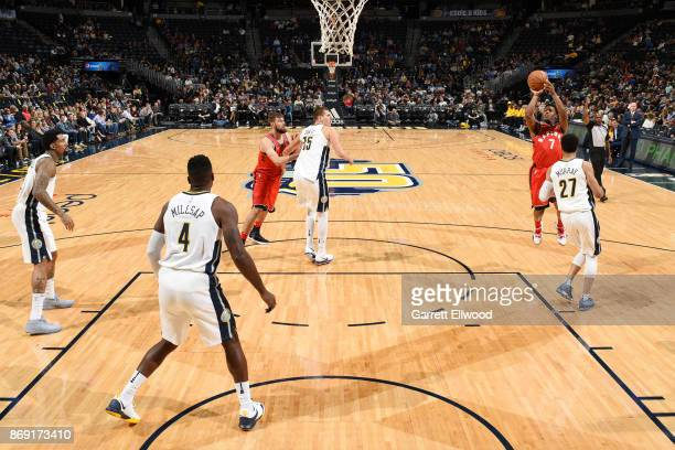 Kyle Lowry of the Toronto Raptors shoots the ball against the Denver Nuggets on November 1 2017 at the Pepsi Center in Denver Colorado NOTE TO USER...
