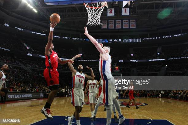 Kyle Lowry of the Toronto Raptors shoots the ball against the Detroit Pistons on April 5 2017 at The Palace of Auburn Hills in Auburn Hills Michigan...