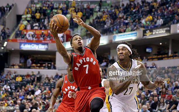 Kyle Lowry of the Toronto Raptors shoots the ball against the Indiana Pacers during the game at Bankers Life Fieldhouse on March 17 2016 in...