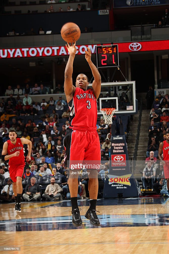 <a gi-track='captionPersonalityLinkClicked' href=/galleries/search?phrase=Kyle+Lowry&family=editorial&specificpeople=714625 ng-click='$event.stopPropagation()'>Kyle Lowry</a> #3 of the Toronto Raptors shoots the ball against the Memphis Grizzlies on November 28, 2012 at FedExForum in Memphis, Tennessee.