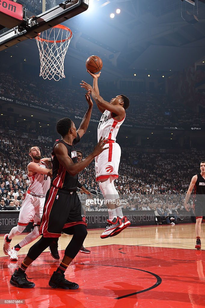 <a gi-track='captionPersonalityLinkClicked' href=/galleries/search?phrase=Kyle+Lowry&family=editorial&specificpeople=714625 ng-click='$event.stopPropagation()'>Kyle Lowry</a> #7 of the Toronto Raptors shoots the ball against the Miami Heat in Game Two of the Eastern Conference Semifinals on May 5, 2016 at the Air Canada Centre in Toronto, Ontario, Canada.