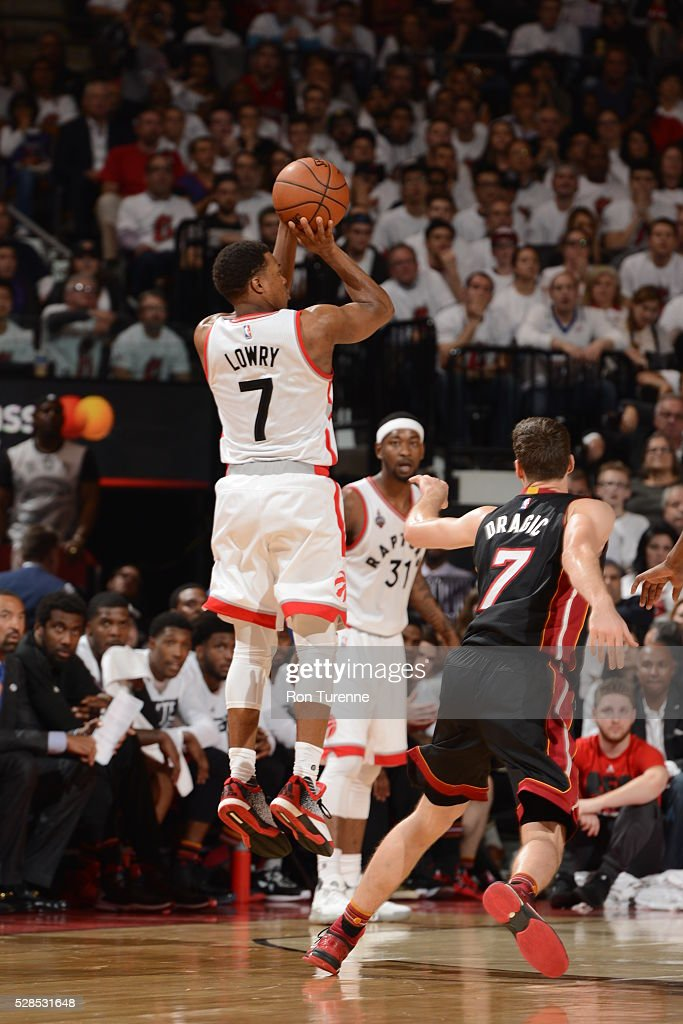 Kyle Lowry #7 of the Toronto Raptors shoots the ball against the Miami Heat in Game Two of the Eastern Conference Semifinals on May 5, 2016 at the Air Canada Centre in Toronto, Ontario, Canada.