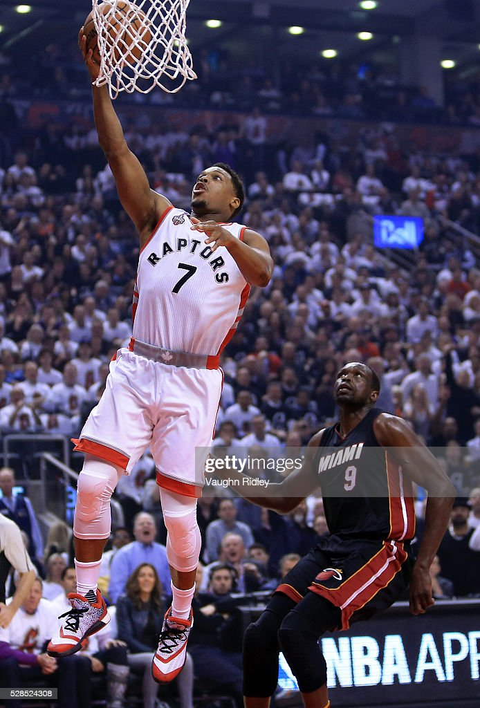 <a gi-track='captionPersonalityLinkClicked' href=/galleries/search?phrase=Kyle+Lowry&family=editorial&specificpeople=714625 ng-click='$event.stopPropagation()'>Kyle Lowry</a> #7 of the Toronto Raptors shoots the ball as <a gi-track='captionPersonalityLinkClicked' href=/galleries/search?phrase=Luol+Deng&family=editorial&specificpeople=202830 ng-click='$event.stopPropagation()'>Luol Deng</a> #9 of the Miami Heat defends in the first half of Game Two of the Eastern Conference Semifinals during the 2016 NBA Playoffs at the Air Canada Centre on May 5, 2016 in Toronto, Ontario, Canada.