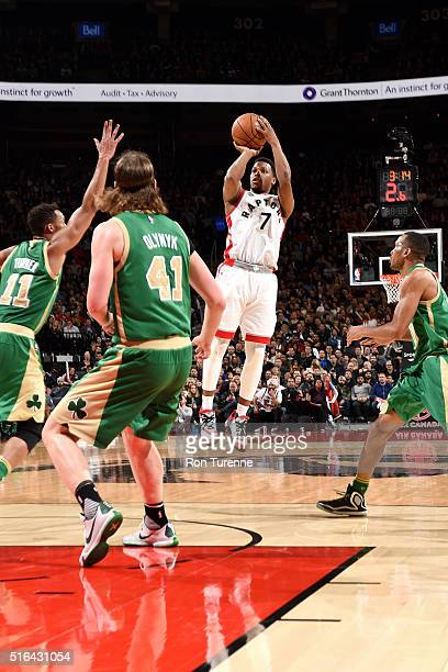 Kyle Lowry of the Toronto Raptors shoots the ball during the game against the Boston Celtics on March 18 2016 at the Air Canada Centre in Toronto...