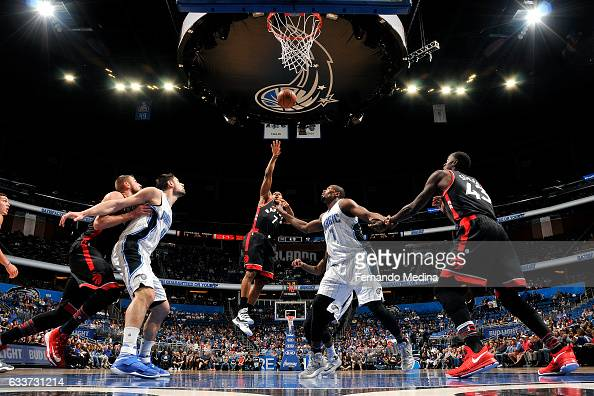 Kyle Lowry of the Toronto Raptors shoots the ball during the game against the Orlando Magic on February 3 2017 at Amway Center in Orlando Florida...
