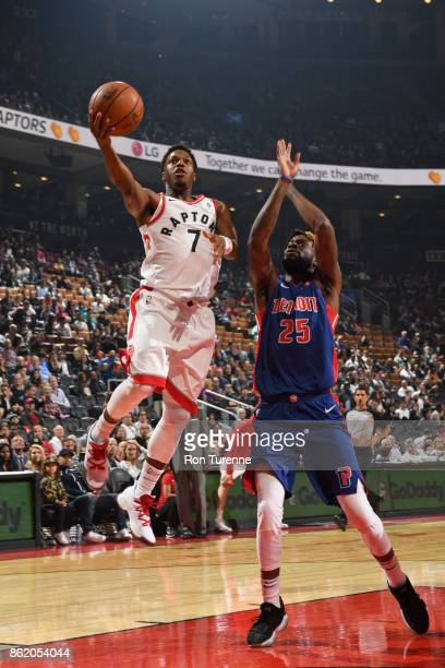 Kyle Lowry of the Toronto Raptors shoots the ball during the preseason game against the Detroit Pistons on October 10 2017 at the Air Canada Centre...