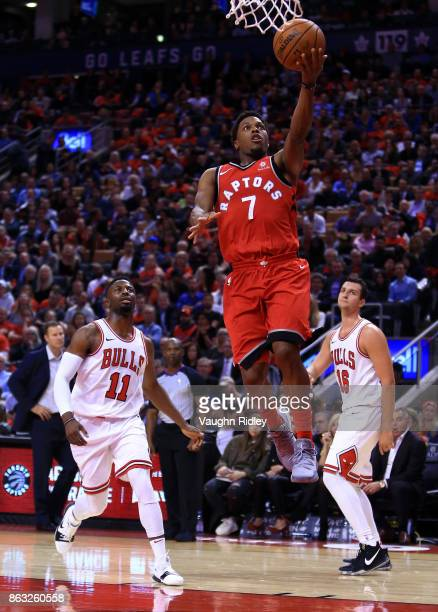 Kyle Lowry of the Toronto Raptors shoots the ball during the second half of an NBA game against the Chicago Bulls at Air Canada Centre on October 19...
