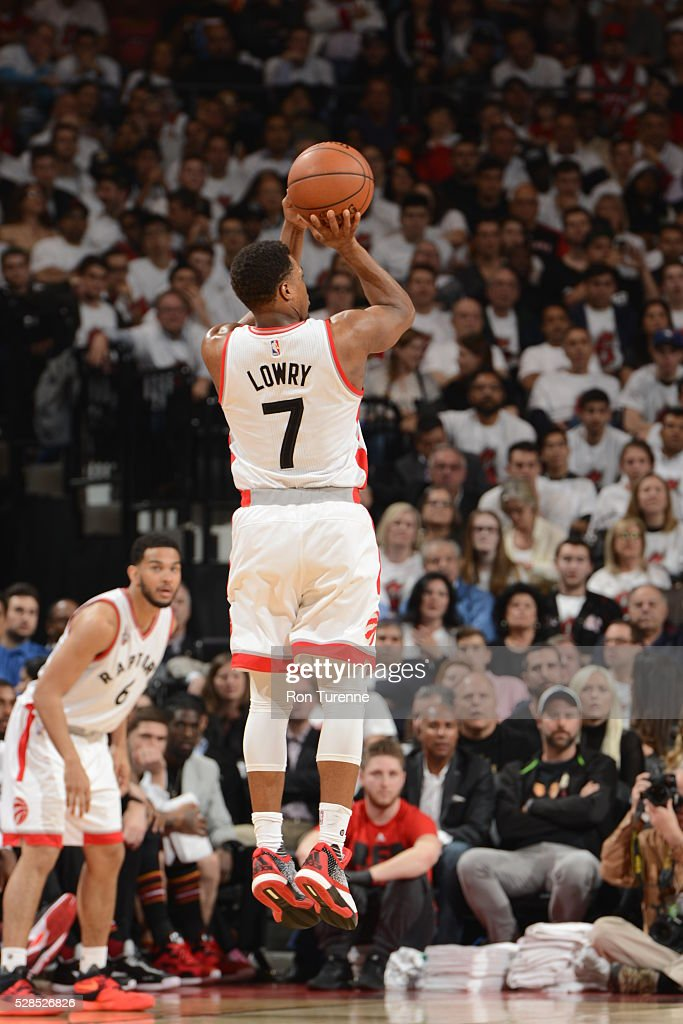 <a gi-track='captionPersonalityLinkClicked' href=/galleries/search?phrase=Kyle+Lowry&family=editorial&specificpeople=714625 ng-click='$event.stopPropagation()'>Kyle Lowry</a> #7 of the Toronto Raptors shoots the ballagainst the Miami Heat in Game Two of the Eastern Conference Semifinals on May 5, 2016 at the Air Canada Centre in Toronto, Ontario, Canada.
