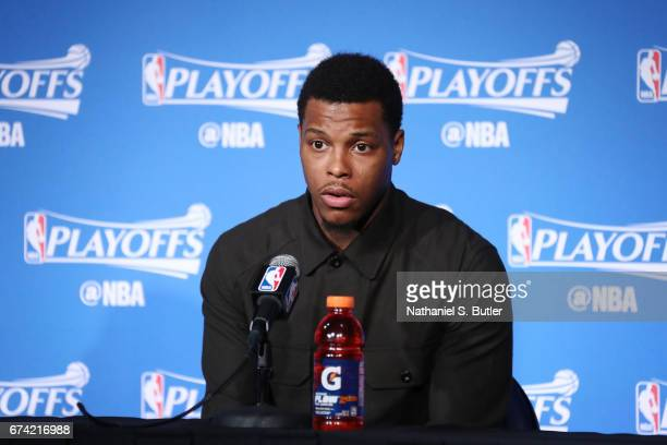Kyle Lowry of the Toronto Raptors speaks to the media after Game Six of the Eastern Conference Quarterfinals of the 2017 NBA Playoffs on April 27...