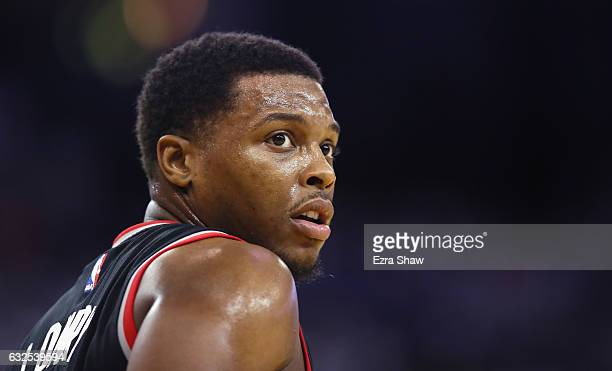 Kyle Lowry of the Toronto Raptors stands on the court during their game against the Golden State Warriors at ORACLE Arena on December 28 2016 in...