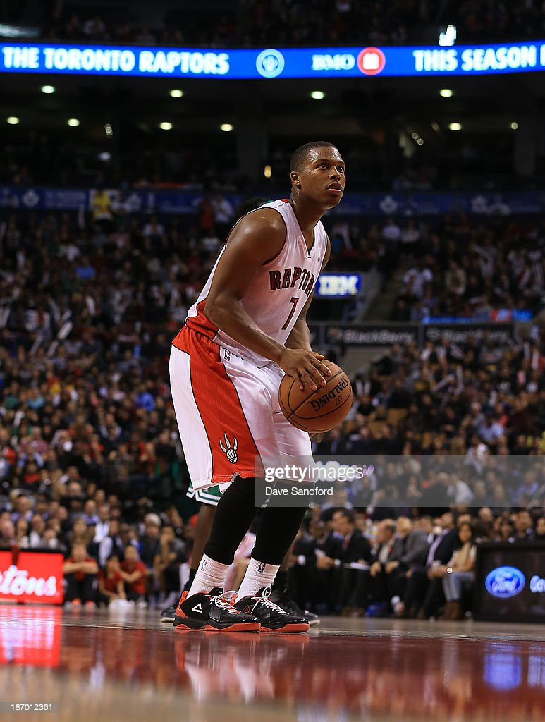 Kyle Lowry #7 of the Toronto Raptors takes a foul shot against the Boston Celtics during their NBA game at the Air Canada Centre on October 30, 2013 in Toronto, Ontario, Canada.