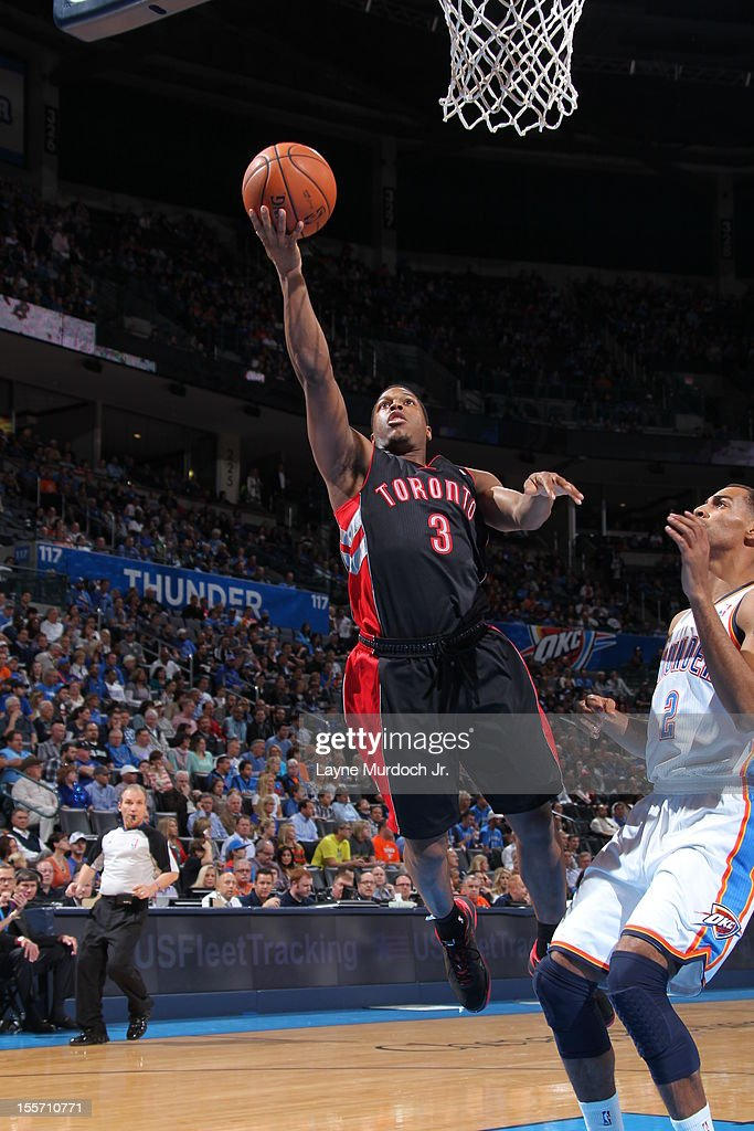Kyle Lowry #3 of the Toronto Raptors takes a lay uop against the Oklahoma City Thunder on November 6, 2012 at the Chesapeake Energy Arena in Oklahoma City, Oklahoma.