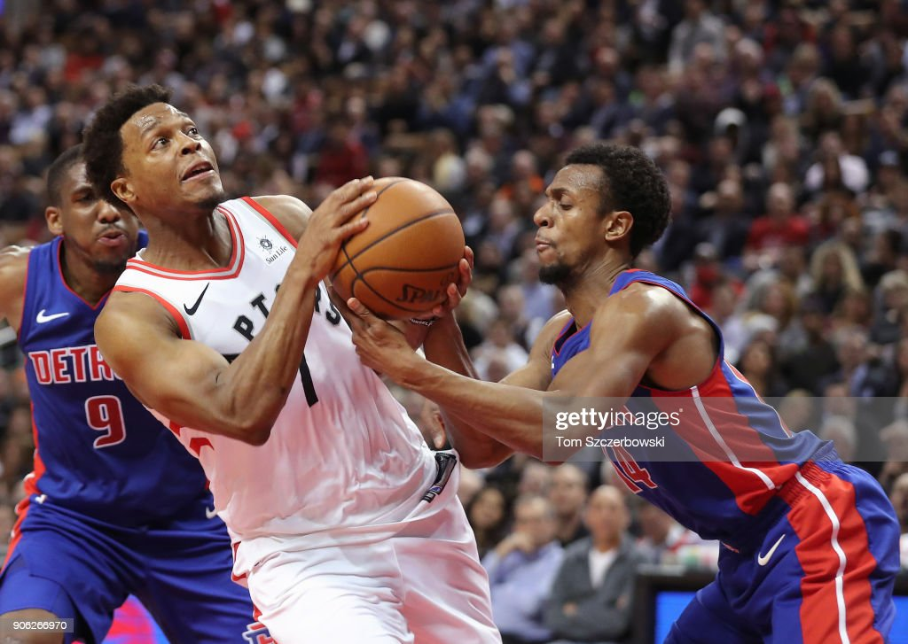 Kyle Lowry #7 of the Toronto Raptors takes the ball from Ish Smith #14 of Detroit Pistons at Air Canada Centre on January 17, 2018 in Toronto, Canada.