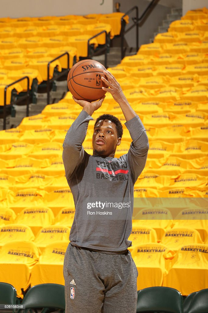 <a gi-track='captionPersonalityLinkClicked' href=/galleries/search?phrase=Kyle+Lowry&family=editorial&specificpeople=714625 ng-click='$event.stopPropagation()'>Kyle Lowry</a> #7 of the Toronto Raptors warms up before the game against the Indiana Pacers in Game Six of the Eastern Conference Quarterfinals during the 2016 NBA Playoffs on April 29, 2016 at Bankers Life Fieldhouse in Indianapolis, Indiana.