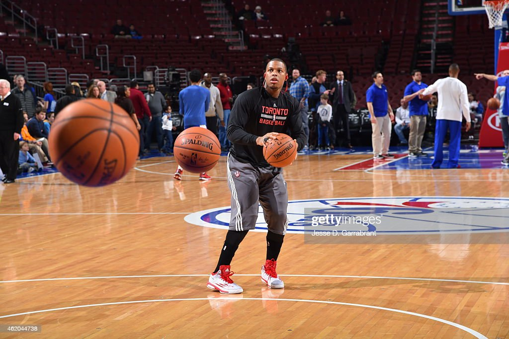 Kyle Lowry #7 of the Toronto Raptors warms up prior to the game against the Philadelphia 76ers at Wells Fargo Center on January 23, 2015 in Philadelphia, Pennsylvania