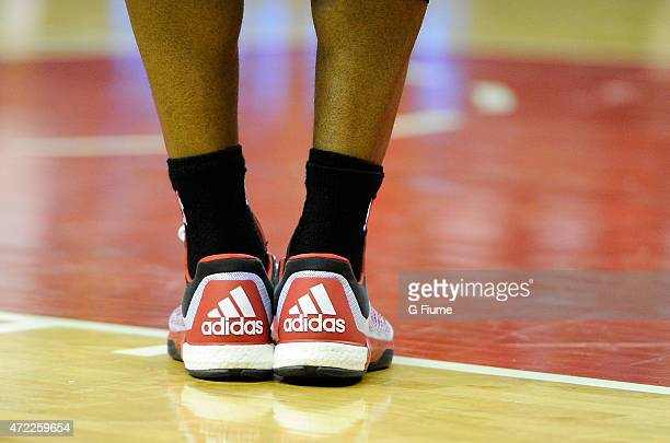 Kyle Lowry of the Toronto Raptors wears adidas shoes during the game against the Washington Wizards during Game Four of the Eastern Conference...