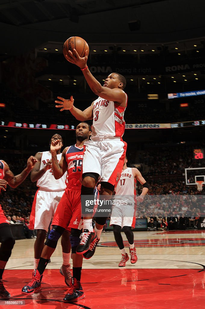 Kyle Lowry #3 of the Washington Wizards glides to the basket against the Toronto Raptors during the game on April 3, 2013 at the Air Canada Centre in Toronto, Ontario, Canada.