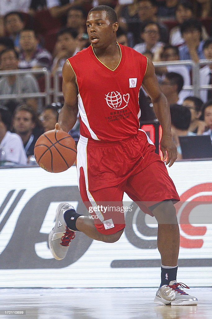 Kyle Lowry of Toronto Raptors drives the ball during the 2013 Yao Foundation Charity Game between China and the NBA Stars at MasterCard Center on July 1, 2013 in Beijing, China.