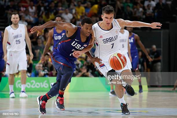 Kyle Lowry of United States steals the ball from Bogdan Bogdanovic of Serbia during the Men's Gold medal game on Day 16 of the Rio 2016 Olympic Games...