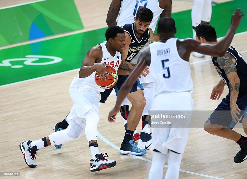 Kyle Lowry of USA and Nicolas Laprovittola of Argentina in action during the Men's Quarterfinal basketball match between USA and Argentina on day 12...