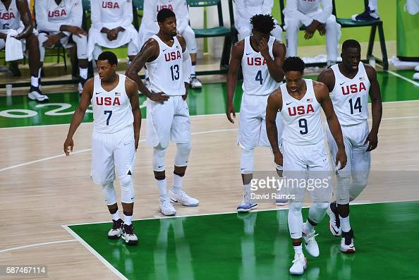 Kyle Lowry Paul George Jimmy Butler Demar DeRozan and Draymond Green of United States walk on the court during the Men's Preliminary Round between...