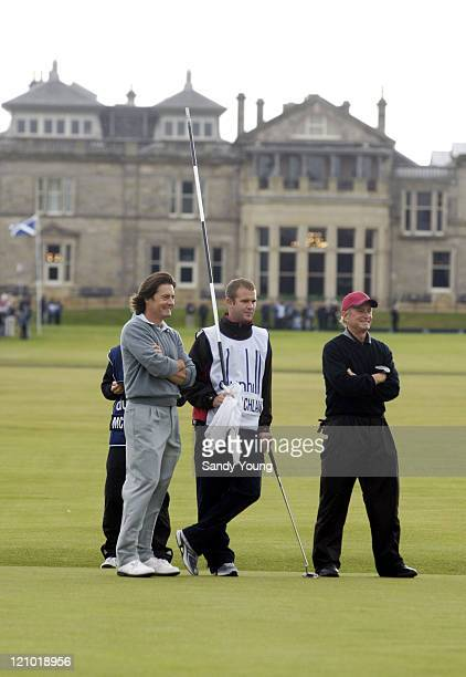Kyle MacLaclan and Michael Douglas during the second round of the Dunhill Links Championship at St Andrews on September 30 2005