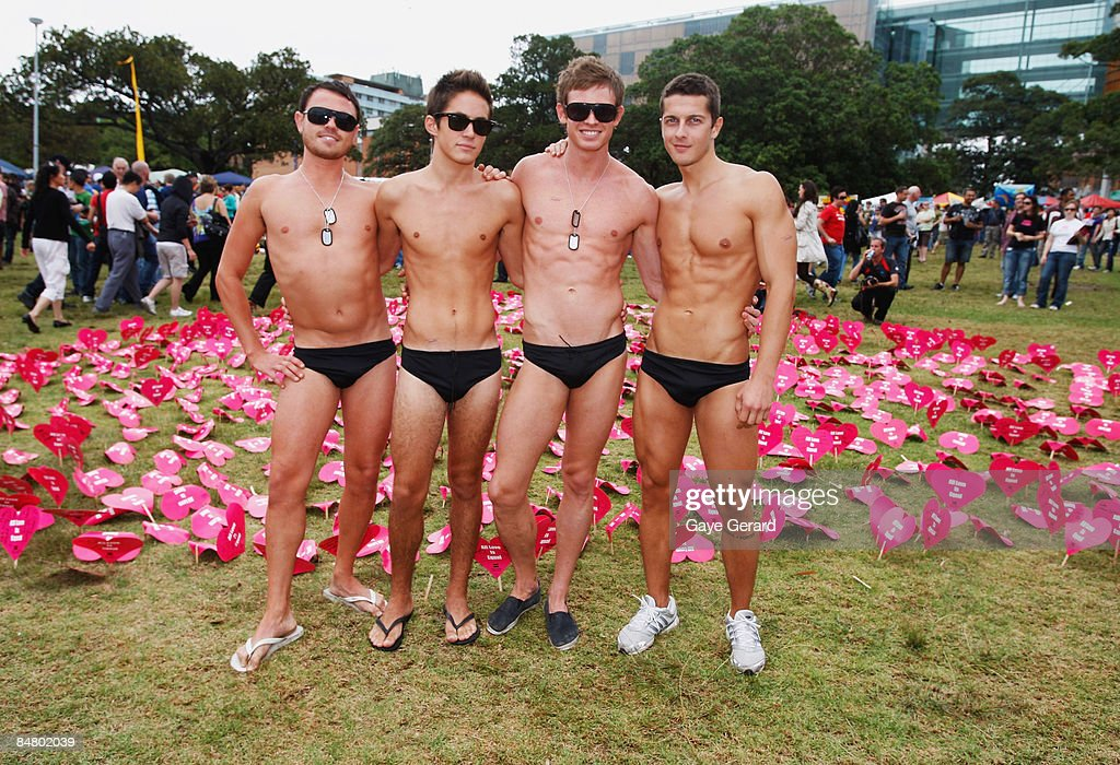 Kyle Maes Ollie Lloyd Brodie West and guest pose during the official launch of the Sydney Gay and Lesbian Mardi Gras Festival in Victoria Park on...