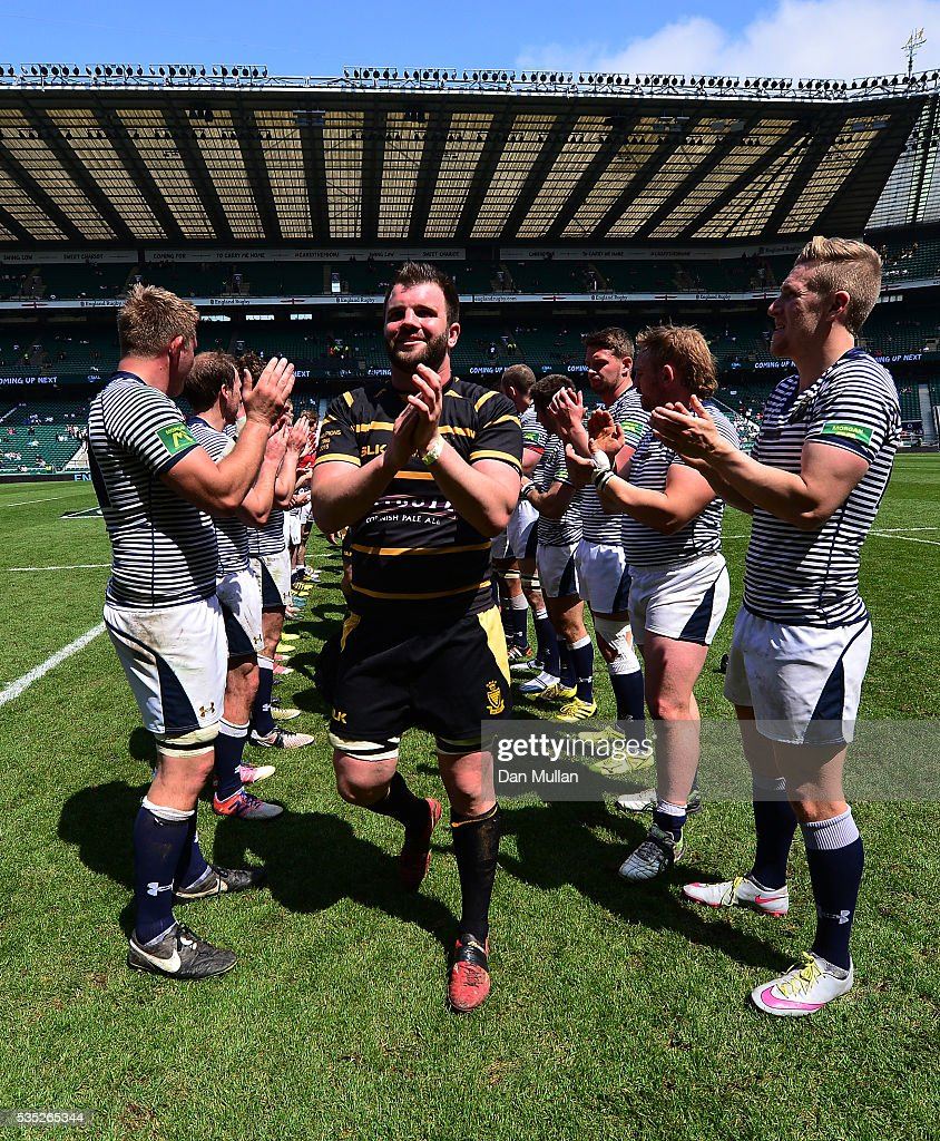 Kyle Marriott of Cornwall leads his team through the tunnel formed by the Cheshire players following the 2016 Bill Beaumont Cup Final between Cornwall and Cheshire at Twickenham Stadium on May 29, 2016 in London, England.