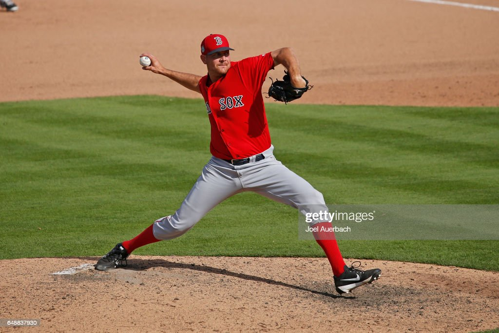 Kyle Martin #72 of the Boston Red Sox throws the ball against the Houston Astros in the seventh inning during a spring training game at The Ballpark of the Palm Beaches on March 6, 2017 in West Palm Beach, Florida. The Astros and Red Sox played to a 5-5 tie.