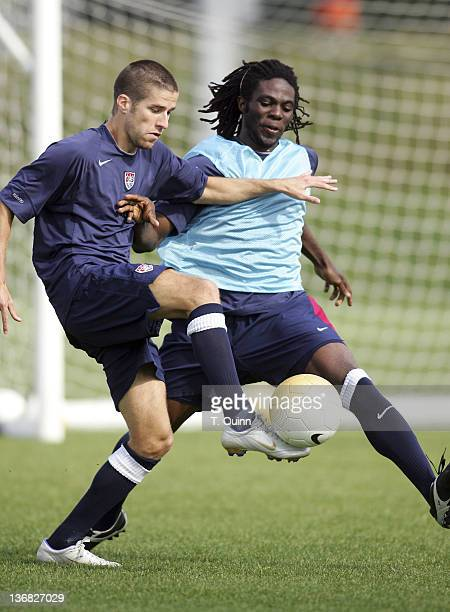 Kyle Martino of the Columbus Crew left is challenged by Ugo Ihelmelu of the Galaxy at the 2006 USA World Cup team training session on January 22 2006...