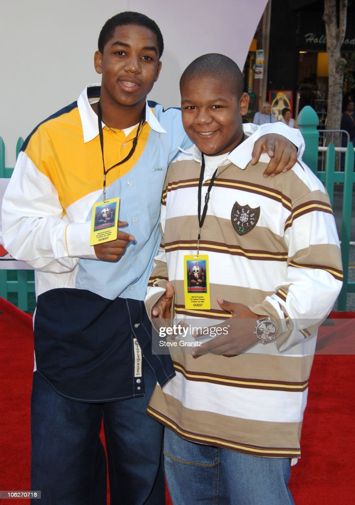 Kyle Massey and Christopher Massey during Disney's 'Chicken Little' Los Angeles Premiere Arrivals at El Capitan in Hollywood California United States
