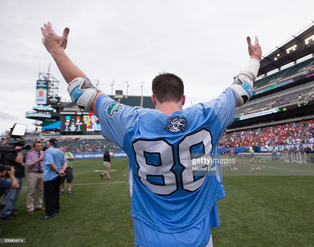 Kyle Mathie #88 of the North Carolina Tar Heels reacts after the game against the Maryland Terrapins in the NCAA Division I Men's Lacrosse Championship at Lincoln Financial Field on May 30, 2016 in Philadelphia, Pennsylvania. The Tar Heels defeated the Terrapins 14-13.