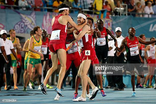 Kyle Merber Brycen Spratling Brandon Johnson and Ben Blankenship of the United States celebrate after setting a world record during the final of the...