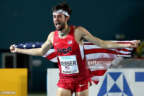 Kyle Merber of the United States celebrates after winning the final of the men's distance medley relay on day two of the IAAF/BTC World Relays...