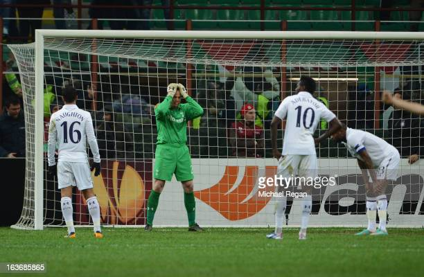 Kyle Naughton Brad Friedel and Emmanuel Adebayor of Tottenham Hotspur look dejected as William Gallas scores an own goal for Inter Milan's third goal...