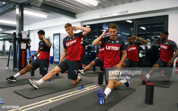 Kyle Naughton Jay Fulton Thomas Carroll Jordan Ayew and Leroy Fer work out in the gym during the Swansea City Training at The Fairwood Training...