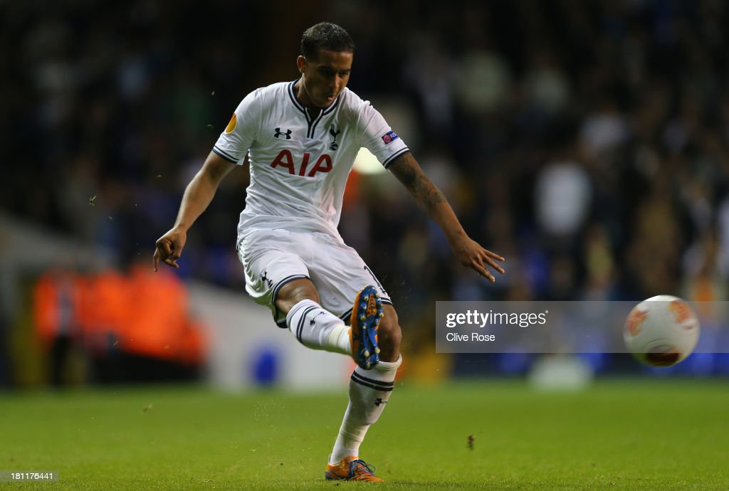 Kyle Naughton of Spurs on the ball during the UEFA Europa League Group K match between Tottenham Hotspur FC and Tromso IL at White Hart Lane on September 19, 2013 in London, England.