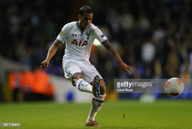 Kyle Naughton of Spurs on the ball during the UEFA Europa League Group K match between Tottenham Hotspur FC and Tromso IL at White Hart Lane on...