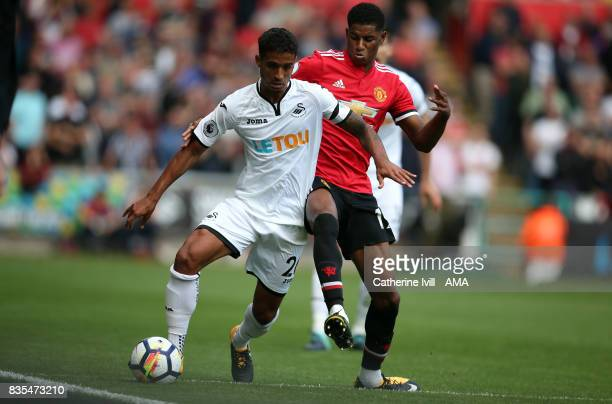 Kyle Naughton of Swansea City and Marcus Rashford of Manchester United during the Premier League match between Swansea City and Manchester United at...
