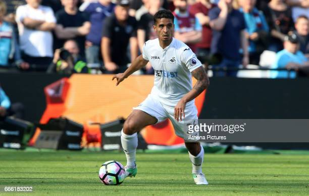 Kyle Naughton of Swansea City during the Premier League match between West Ham United and Swansea City at the London Stadium on April 8 2017 in...